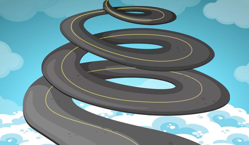 spiralling road
